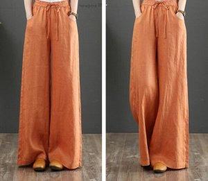 Льняные широкие брюки, оранжевый