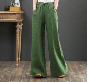 Льняные широкие брюки, зеленый
