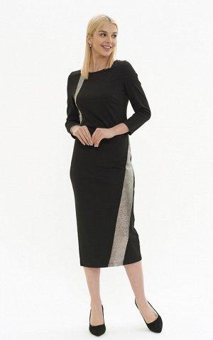 Платье Декоративный элемент —  аппликация  Цвет —  черный  Коллекция —  Нарядная коллекция  Состав —  вискоза 68% нейлон 27% спандекс 5%