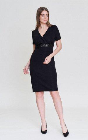 Платье Фиолет 46, черный-все размеры. Нарядное платье. очень красивое. Элегантное платье полуприталенного силуэта с короткими рукавами и глубокой V-образной горловиной, красиво подчёркивающей грудь. М