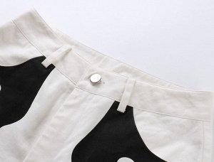 """Женские брюки клеш, принт """"Пламя"""", цвет черный/белый"""