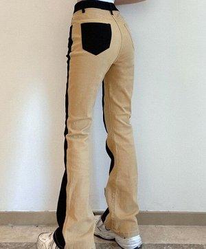 Женские брюки клеш, цвет крем-брюле/черный