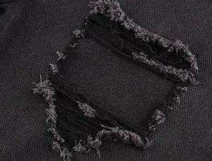 Женские широкие джинсы с дырками, цвет черный