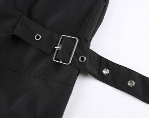Женские брюки джоггеры, на резинке, с декоративными ремнями, цвет черный
