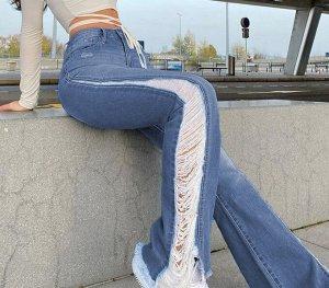 Женские джинсы клеш со вставками по внешнему шву, цвет синий