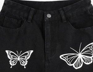 """Женские широкие джинсы, принт """"Бабочки"""", цвет черный"""