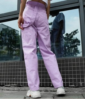 Женские широкие брюки с карманами, цвет сиреневый