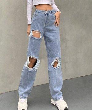 Женские прямые джинсы с дырками, цвет голубой