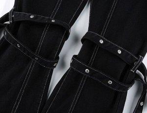 Женские джинсы клеш, с декоративными ремнями на коленях, цвет черный