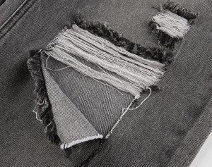 Женские прямые джинсы с дырками, цвет серый