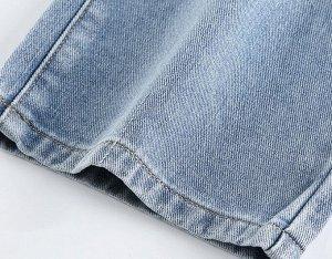 Женские прямые джинсы с декоративным ремнем, цвет голубой