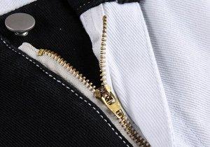 Женские брюки со скошенной застежкой, цвет черный/белый
