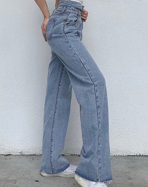 Женские широкие джинсы с двойным поясом, цвет голубой