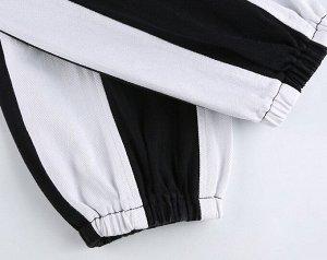 Женские брюки джоггеры на резинке, с карманами, цвет черный/белый