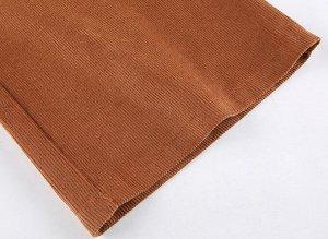 Женские вельветовые широкие брюки с карманами, цвет коричневый