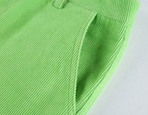 Женские вельветовые широкие брюки с карманами, цвет зеленый