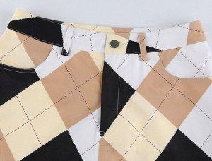 """Женские брюки, принт """"Ромбы"""", цвет белый/кремовый/черный"""