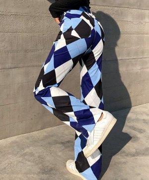 """Женские брюки, принт """"Ромбы"""", цвет белый/голубой/синий/черный"""