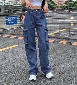 Женские широкие джинсы с карманами, цвет синий