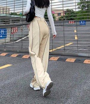 Женские широкие брюки, цвет кремовый
