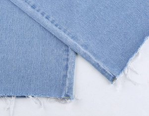 Женские гранжевые джинсы с прорезями на коленях, цвет голубой