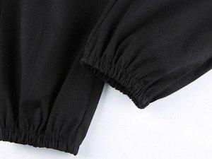 """Женские брюки джоггеры, на резинке, декоративные элементы """"Цепочки и молния на бедре"""", цвет черный"""