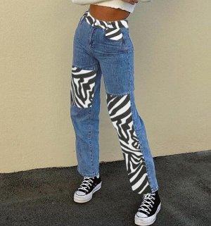 """Женские широкие джинсы, принт """"Зебра"""", цвет синий"""