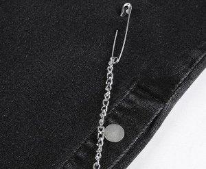 """Женские джинсы клеш, с декоративными ремнями на коленяхэлементами """"Булавки на цепочках"""", цвет черный"""