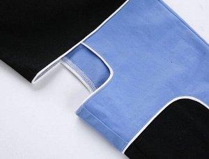 Женские брюки с вырезами по бокам, цвет голубой/черный