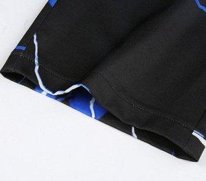 """Женские широкие брюки, принт """"Молнии"""", цвет черный/синий"""