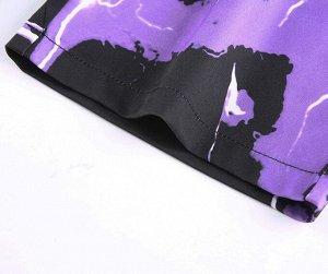 """Женские широкие брюки, принт """"Молнии"""", цвет черный/фиолетовый"""