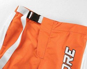 """Женские брюки джоггеры, надпись """"Rockmore"""", цвет оранжевый"""