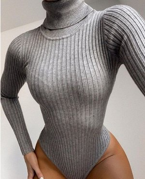 Женское боди-водолазка с высоким горлом, цвет серый