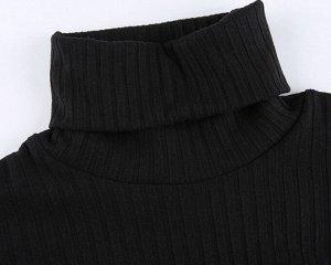 Женское боди-водолазка с высоким горлом, цвет черный