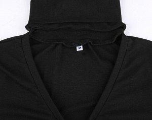 Женское боди с V-образным вырезом, длинный рукав, цвет черный
