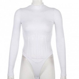 Женское боди с длинным рукавом, прозрачные вставки на талии, цвет белый