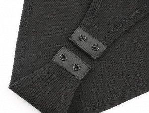 Женское боди с длинным рукавом, прозрачные вставки на талии, цвет черный