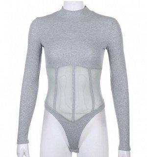 Женское боди с длинным рукавом, прозрачные вставки на талии, цвет серый