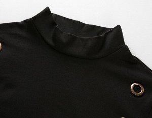 Женское боди с длинным рукавом, с декоративными элементами, цвет черный