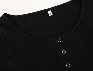 Женское боди с длинным рукавом, воротник на кнопках, цвет черный