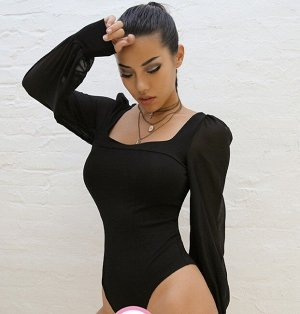 Женское боди с квадратным вырезом, прозрачные рукава, цвет черный