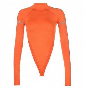 """Женское боди с длинным рукавом, надпись на рукавах """"Rock more"""", цвет оранжевый"""