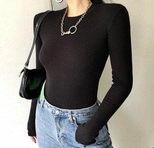 Женское боди с длинным рукавом, цвет черный
