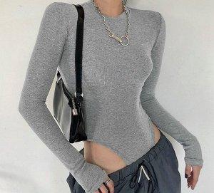Женское боди с длинным рукавом, цвет серый