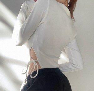 Женское боди с длинным рукавом, принт надпись, на талии завязки, цвет белый