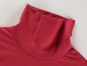 Женское боди-водолазка с длинным рукавом, цвет красный