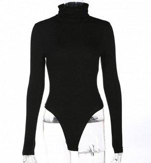 Женское боди-водолазка с длинным рукавом, цвет черный