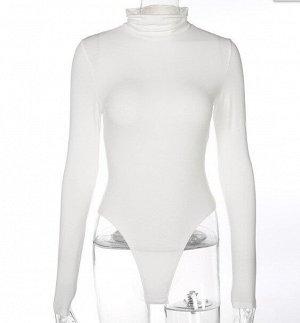 Женское боди-водолазка с длинным рукавом, цвет белый