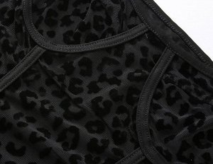 """Женское прозрачное боди на тонких лямках, принт """"Леопард"""", цвет черный"""