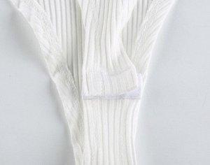 Женское боди с квадратным вырезом, ворот на кнопках, длинные рукава, цвет белый